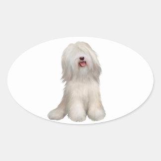 Tibetanisches Terrier (weiß) Ovaler Aufkleber