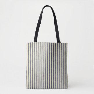 Ticken blaue u. weiße Retro gestreifte Vintage Tasche