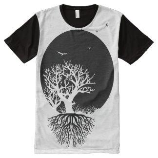Tief verwurzelter Mond-Hintergrund T-Shirt Mit Komplett Bedruckbarer Vorderseite