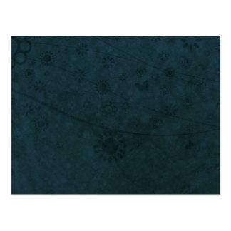Tiefe blaue Retro Blumen und Schmetterlinge Postkarte
