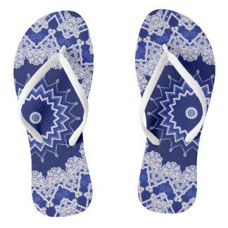 Tiefe blaue Spitze betont Muster Flip Flops