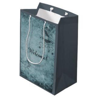 Tiefe blaue Steampunk Vogelkäfig-Geschenk-Tasche Mittlere Geschenktüte