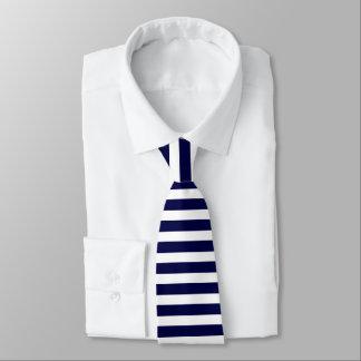 Tiefe blaue und weiße Horizontal-Gestreifte Bedruckte Krawatte