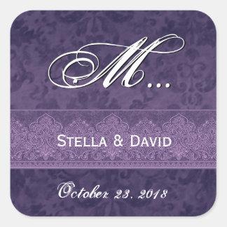 Tiefe königliche lila Damast-Hochzeit Quadrat-Aufkleber