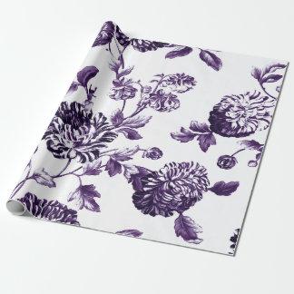Tiefe Maulbeere lila botanisches BlumenToile Geschenkpapier