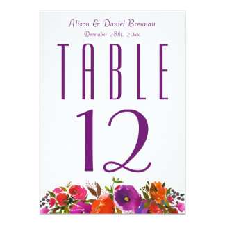Deep Orange Purple Floral Wedding Table Number