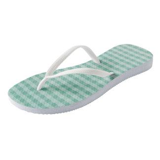 Tiefer aquamariner Ombre Gingham Flip Flops