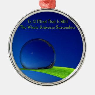 Tiefer blauer harmonischer Mond mit Dewdrop Silbernes Ornament