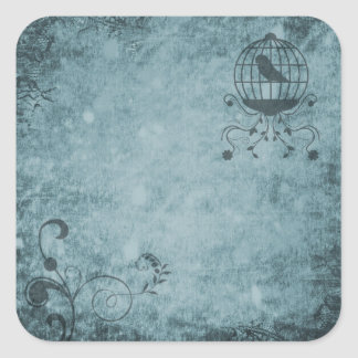 Tiefer blauer Steampunk Vogelkäfig-Blumenaufkleber Quadratischer Aufkleber