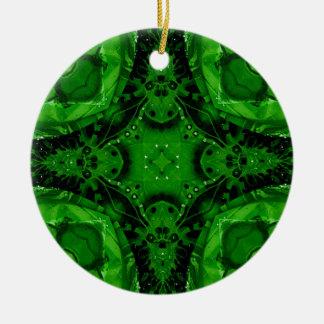 Tiefer Smaragdgrün-kreuzförmiger Entwurf Rundes Keramik Ornament