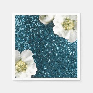 Tiefer Tiffany Wasserstrand-Jasmin-GlitterSequin Papierservietten