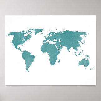 Tiefer Türkis-rustikale Weltkarte Poster