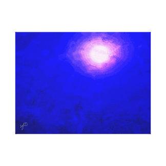 Tiefes blauer Mond-minimales abstraktes Leinwanddruck