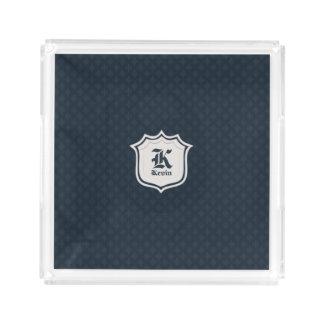 Tiefes klassisches Marine-Gewohnheits-Monogramm Acryl Tablett