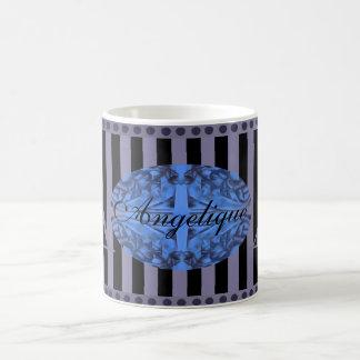 Tiefes Monogramm des Blau-und Pflaumen-lila Kaffeetasse