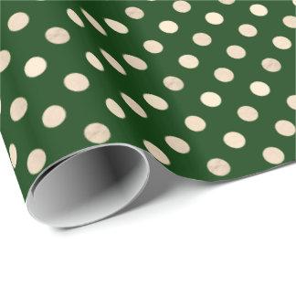 Tiefes Waldgrün und goldener Punkt gemustert Geschenkpapier