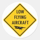 Tiefflug-Flugzeuge - Verkehrszeichen Runder Sticker