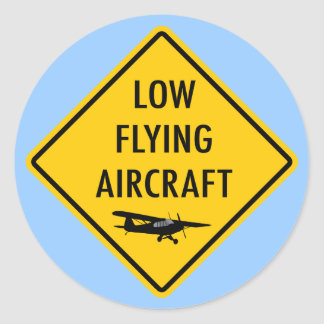 Tiefflug-Flugzeuge - Verkehrszeichen Runder Aufkleber