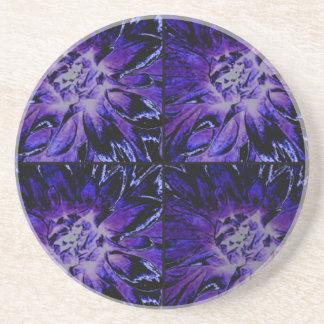 Tiefpurpurnes Collagen-Dahlie-Blumen-Muster Sandstein Untersetzer
