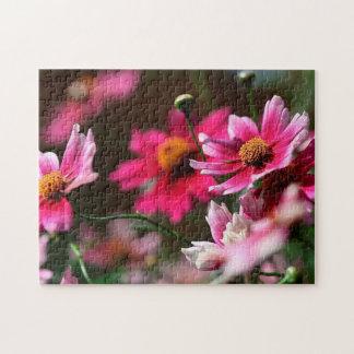 Tiefrosa Blumen Puzzle