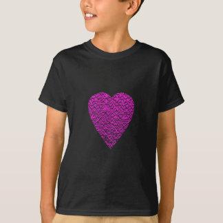 Tiefrosa Herz. Gemusterter Herz-Entwurf T-Shirt