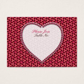 Tiefrosa Herzen, die Tabellen-Seat-Karten Wedding Jumbo-Visitenkarten