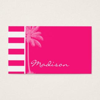 Tiefrosa horizontale Streifen; Sommer-Palme Visitenkarte