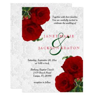 Tiefrote Rosen-Blumenhochzeits-Einladung Karte