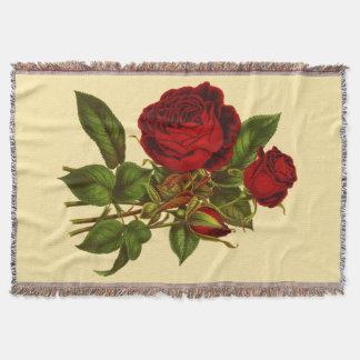 Tiefrote Rosen gesponnener Throw Decke
