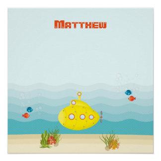 Tiefsee-gelbes Unterseeboot Poster
