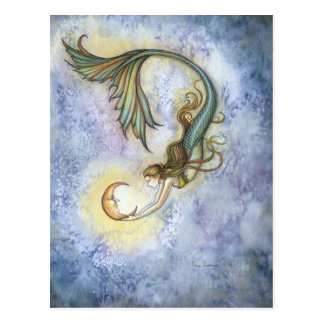 Tiefsee-Mond-Meerjungfrau-Postkarte Postkarte