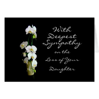 Tiefste Beileids-Tochter-Weiß-Orchideen Karte
