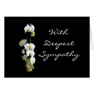 Tiefstes Beileids-weißer Orchideen-freier Raum Grußkarte