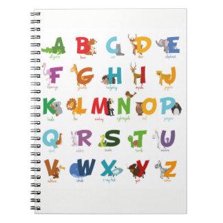 Tier-Alphabet-Buchstaben Notizblock
