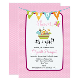 Tier-Arche-Baby-Duschen-Einladung 12,7 X 17,8 Cm Einladungskarte