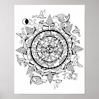 Tier-auf der ganzen Welt Mandala Poster