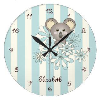 Tier-Baby-Koala-Pastellblau scherzt Raum-Namen Große Wanduhr