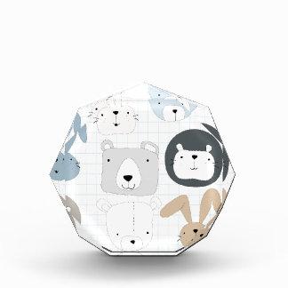 Tier-Cartoon Teddybär, -löwe und -kaninchen Acryl Auszeichnung