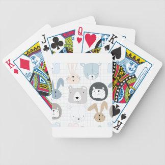 Tier-Cartoon Teddybär, -löwe und -kaninchen Bicycle Spielkarten