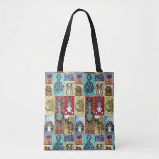Tier-Collagen-Volkskunst-Entwurf Tasche