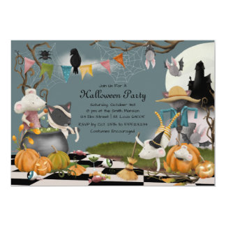 Tier-Halloween-Party-Einladung Karte