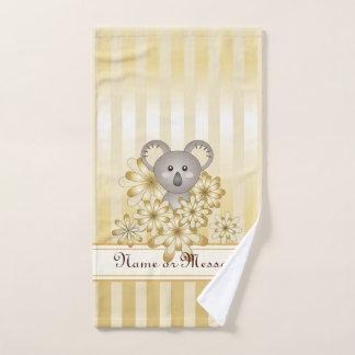 Tier-Koala-Goldeffekt-gestreifte Kinder Badhandtuch Set