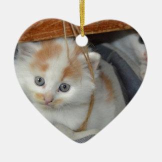 Tier-Pets niedlicher KätzchenKitty Katzen Keramik Herz-Ornament