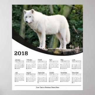 Tier-Plakat-Kalender des weißen Wolf-2018 Poster