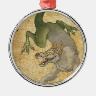 Tier vom Osten Rundes Silberfarbenes Ornament