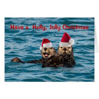 Tier-Weihnachtskarte, Otter, die Weihnachtsmannmüt Grußkarte