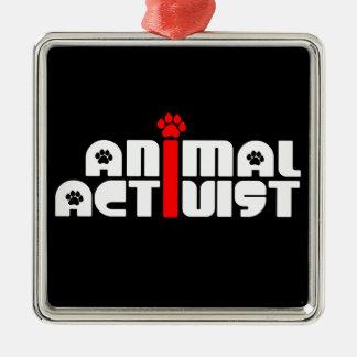 Tieraktivist Quadratisches Silberfarbenes Ornament