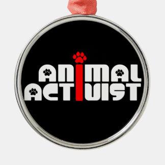 Tieraktivist Rundes Silberfarbenes Ornament