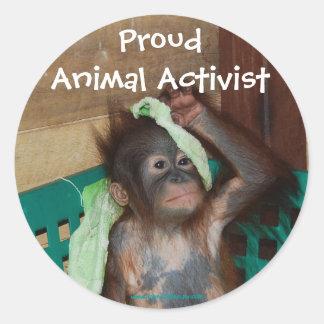 Tieraktivisten-Aufkleber Runder Aufkleber