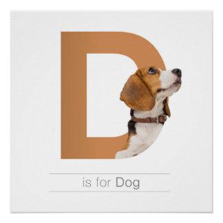 Tieralphabet-Kinderzimmer-Wand Art. D ist für Hund Poster